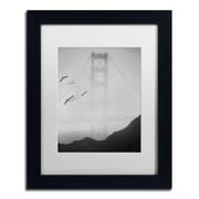 """Trademark Fine Art ''Golden Gate Pier and Birds I'' by Moises Levy 11"""" x 14"""" White Matted Black Frame (ALI1112-B1114MF)"""