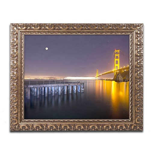 "Trademark Fine Art ''Golden Gate Pier and Stars'' by Moises Levy 11"" x 14"" Ornate Frame (ALI1113-G1114F)"
