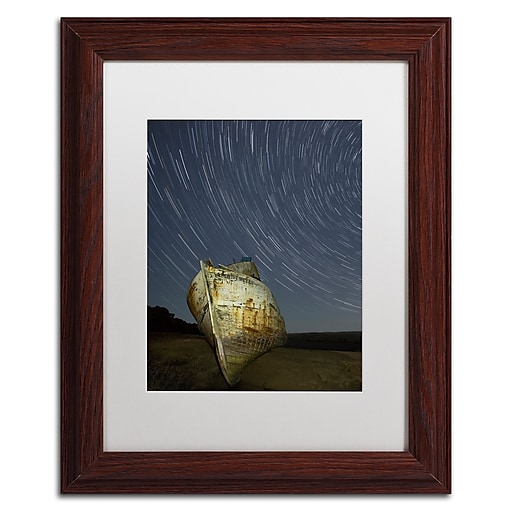 """Trademark Fine Art ''Point Reyes II'' by Moises Levy 11"""" x 14"""" White Matted Wood Frame (ALI1115-W1114MF)"""