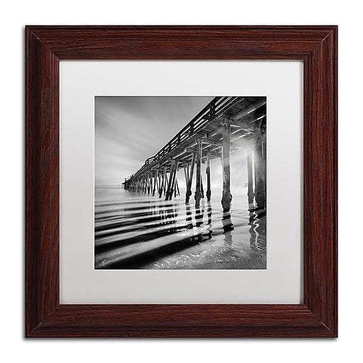 """Trademark Fine Art ''Pier and Shadows'' by Moises Levy 11"""" x 11"""" White Matted Wood Frame (ALI1119-W1111MF)"""