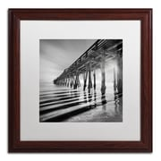 "Trademark Fine Art ''Pier and Shadows'' by Moises Levy 16"" x 16"" White Matted Wood Frame (ALI1119-W1616MF)"