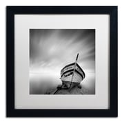 "Trademark Fine Art ''Boat I'' by Moises Levy 16"" x 16"" White Matted Black Frame (ALI1120-B1616MF)"