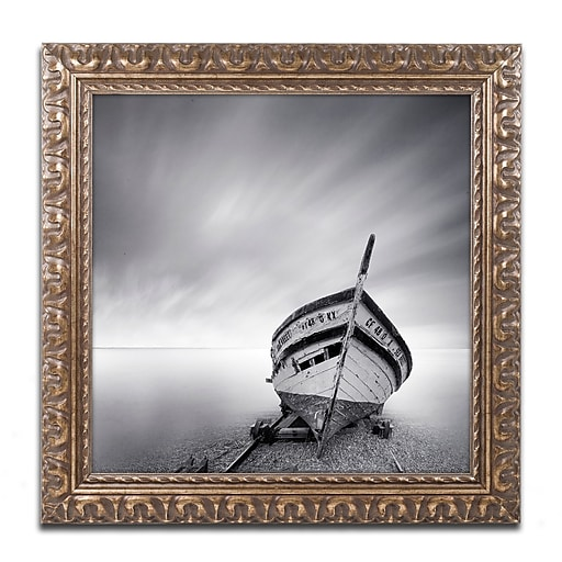 "Trademark Fine Art ''Boat I'' by Moises Levy 16"" x 16"" Ornate Frame (ALI1120-G1616F)"