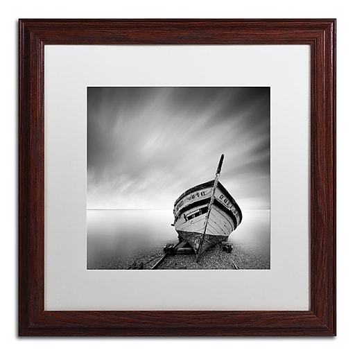 "Trademark Fine Art ''Boat I'' by Moises Levy 16"" x 16"" White Matted Wood Frame (ALI1120-W1616MF)"