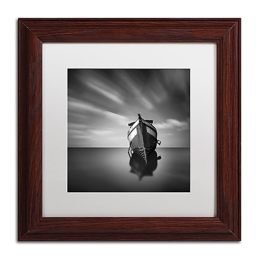 """Trademark Fine Art ''My Boat IV'' by Moises Levy 11"""" x 11"""" White Matted Wood Frame (ALI1124-W1111MF)"""