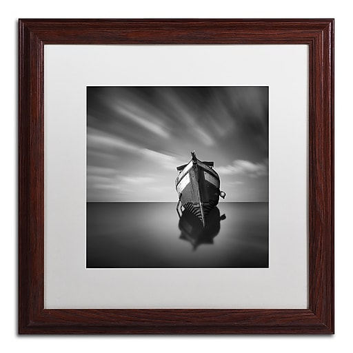 """Trademark Fine Art ''My Boat IV'' by Moises Levy 16"""" x 16"""" White Matted Wood Frame (ALI1124-W1616MF)"""
