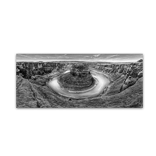 "Trademark Fine Art ''Horseshoe Bend BW'' by Moises Levy 8"" x 19"" Canvas Art (ALI1134-C819GG)"