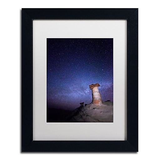 "Trademark Fine Art ''Starry Night in Arizona I'' by Moises Levy 11"" x 14"" White Matted Black Frame (ALI1138-B1114MF)"