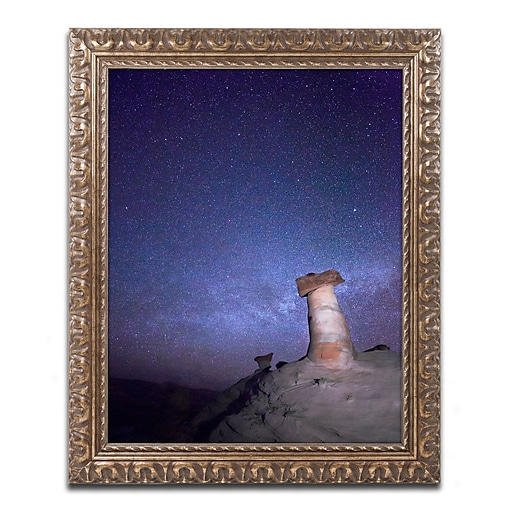 "Trademark Fine Art ''Starry Night in Arizona I'' by Moises Levy 11"" x 14"" Ornate Frame (ALI1138-G1114F)"