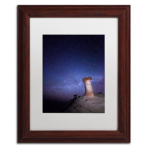 """Trademark Fine Art ''Starry Night in Arizona I'' by Moises Levy 11"""" x 14"""" White Matted Wood Frame (ALI1138-W1114MF)"""