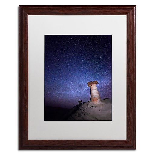 """Trademark Fine Art ''Starry Night in Arizona I'' by Moises Levy 16"""" x 20"""" White Matted Wood Frame (ALI1138-W1620MF)"""