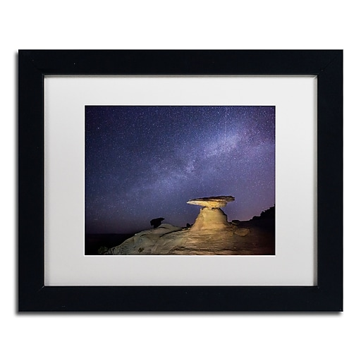 "Trademark Fine Art ''Starry Night in Arizona III'' by Moises Levy 11"" x 14"" White Matted Black Frame (ALI1139-B1114MF)"