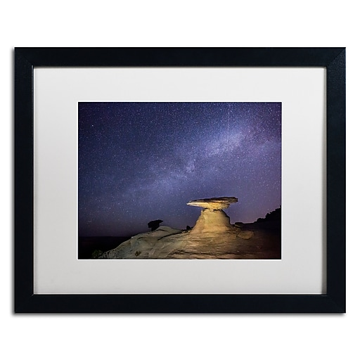 "Trademark Fine Art ''Starry Night in Arizona III'' by Moises Levy 16"" x 20"" White Matted Black Frame (ALI1139-B1620MF)"