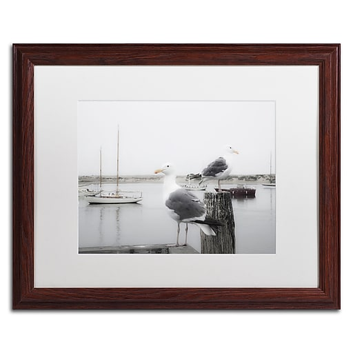 "Trademark Fine Art ''Two Seagulls & Boats'' by Moises Levy 16"" x 20"" White Matted Wood Frame (ALI1147-W1620MF)"
