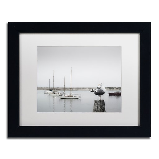 "Trademark Fine Art ''Four Boats & Seagull'' by Moises Levy 11"" x 14"" White Matted Black Frame (ALI1148-B1114MF)"