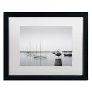 "Trademark Fine Art ''Four Boats & Seagull'' by Moises Levy 16"" x 20"" White Matted Black Frame (ALI1148-B1620MF)"