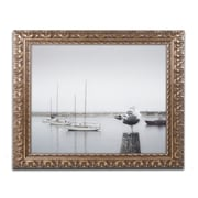 "Trademark Fine Art ''Four Boats & Seagull'' by Moises Levy 11"" x 14"" Ornate Frame (ALI1148-G1114F)"