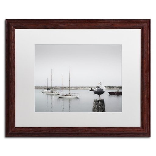 "Trademark Fine Art ''Four Boats & Seagull'' by Moises Levy 16"" x 20"" White Matted Wood Frame (ALI1148-W1620MF)"