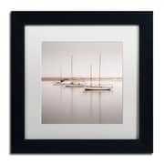 "Trademark Fine Art ''Three Boats'' by Moises Levy 11"" x 11"" White Matted Black Frame (ALI1149-B1111MF)"