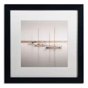 "Trademark Fine Art ''Three Boats'' by Moises Levy 16"" x 16"" White Matted Black Frame (ALI1149-B1616MF)"