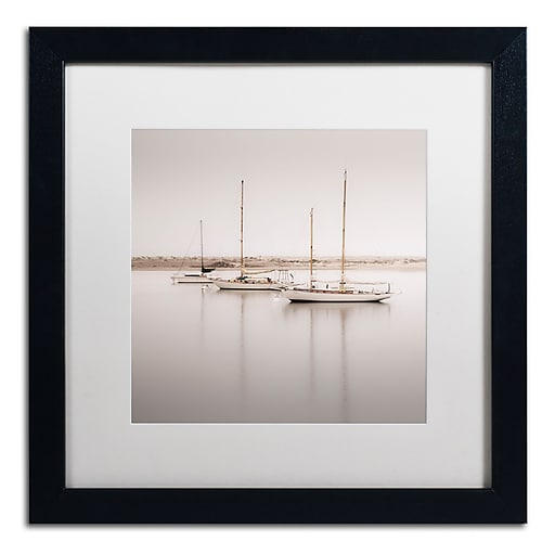 """Trademark Fine Art ''Three Boats'' by Moises Levy 16"""" x 16"""" White Matted Black Frame (ALI1149-B1616MF)"""