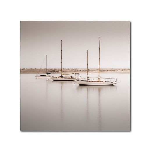 "Trademark Fine Art ''Three Boats'' by Moises Levy 24"" x 24"" Canvas Art (ALI1149-C2424GG)"
