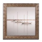 "Trademark Fine Art ''Three Boats'' by Moises Levy 16"" x 16"" Ornate Frame (ALI1149-G1616F)"