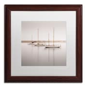 "Trademark Fine Art ''Three Boats'' by Moises Levy 16"" x 16"" White Matted Wood Frame (ALI1149-W1616MF)"