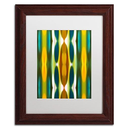 "Trademark Fine Art ''Blue Green Yellow Pattern 14'' by Amy Vangsgard  11"" x 14"" White Matted Wood Frame (AV0119-W1114MF)"
