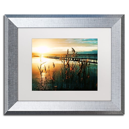 """Trademark Fine Art ''Wish You Were Here'' by Beata Czyzowska Young 11"""" x 14"""" White Matted Silver Frame (BC0060-S1114MF)"""