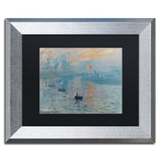 "Trademark Fine Art ''Impression Sunrise'' by Claude Monet 11"" x 14"" Black Matted Silver Frame (BL0001-S1114BMF)"