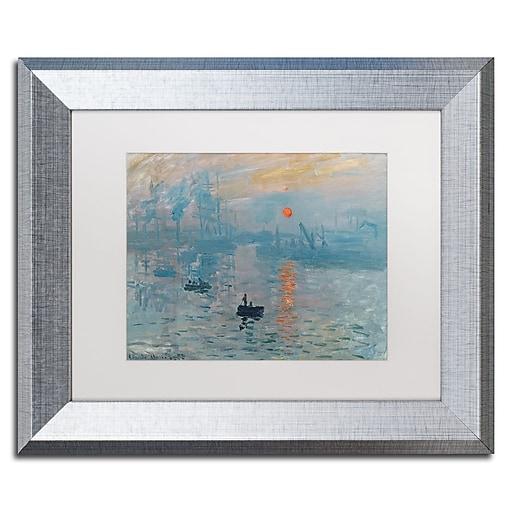 "Trademark Fine Art ''Impression Sunrise'' by Claude Monet 11"" x 14"" White Matted Silver Frame (BL0001-S1114MF)"