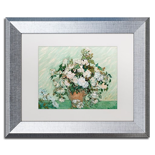 "Trademark Fine Art ''Roses 1890'' by Vincent Van Gogh 11"" x 14"" White Matted Silver Frame (BL01403-S1114MF)"