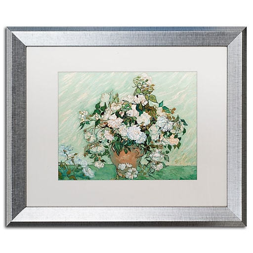 "Trademark Fine Art ''Roses 1890'' by Vincent Van Gogh 16"" x 20"" White Matted Silver Frame (BL01403-S1620MF)"