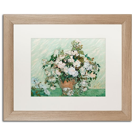 "Trademark Fine Art ''Roses 1890'' by Vincent Van Gogh 16"" x 20"" White Matted Wood Frame (BL01403-T1620MF)"
