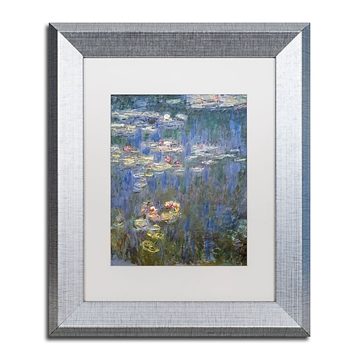 "Trademark Fine Art ''Water Lilies IV 1840-1926'' by Claude Monet 11"" x 14"" White Matted Silver Frame (BL01466-S1114MF)"