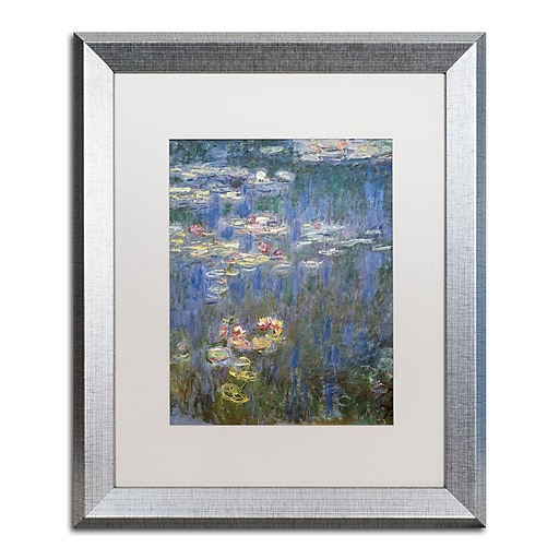 """Trademark Fine Art ''Water Lilies IV 1840-1926'' by Claude Monet 16"""" x 20"""" White Matted Silver Frame (BL01466-S1620MF)"""