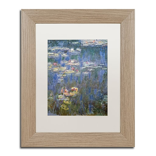 """Trademark Fine Art ''Water Lilies IV 1840-1926'' by Claude Monet 11"""" x 14"""" White Matted Wood Frame (BL01466-T1114MF)"""