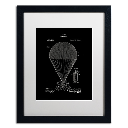 """Trademark Fine Art ''Airship Patent 1913 Black'' by Claire Doherty 16"""" x 20"""" White Matted Black Frame (CDO0001-B1620MF)"""