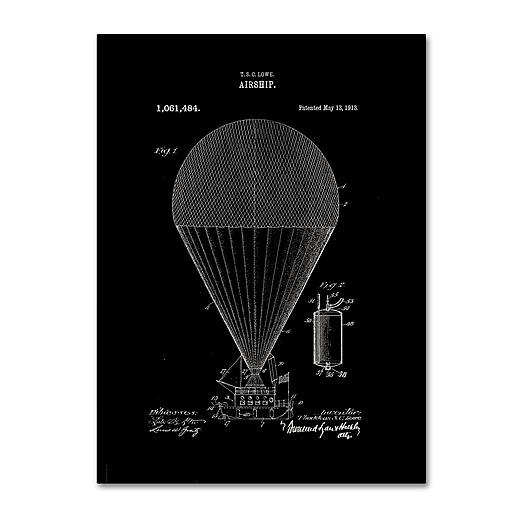 "Trademark Fine Art ''Airship Patent 1913 Black'' by Claire Doherty 35"" x 47"" Canvas Art (CDO0001-C3547GG)"