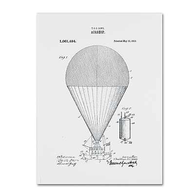 Trademark Fine Art ''Airship Patent 1913 White'' by Claire Doherty 14