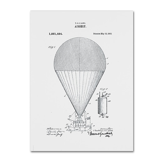 "Trademark Fine Art ''Airship Patent 1913 White'' by Claire Doherty 24"" x 32"" Canvas Art (CDO0002-C2432GG)"