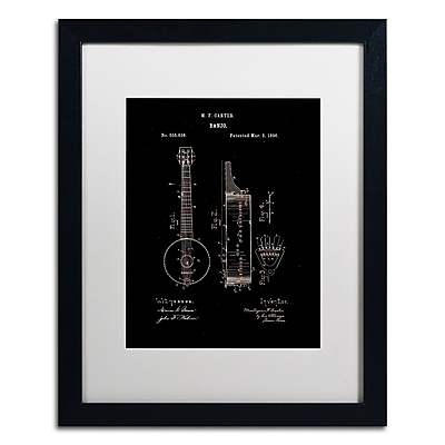 Trademark Fine Art ''Vintage Banjo Patent 1896 Black'' by Claire Doherty 16