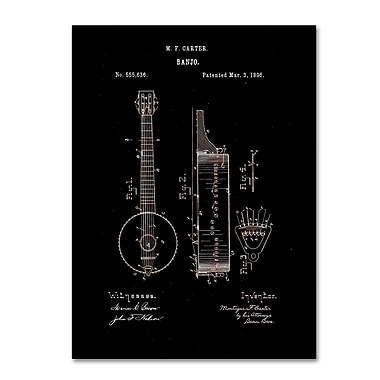 Trademark Fine Art ''Vintage Banjo Patent 1896 Black'' by Claire Doherty 14