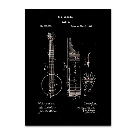 "Trademark Fine Art ''Vintage Banjo Patent 1896 Black'' by Claire Doherty 14"" x 19"" Canvas Art (CDO0004-C1419GG)"