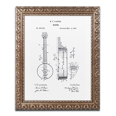 Trademark Fine Art ''Vintage Banjo Patent 1896 White'' by Claire Doherty 11