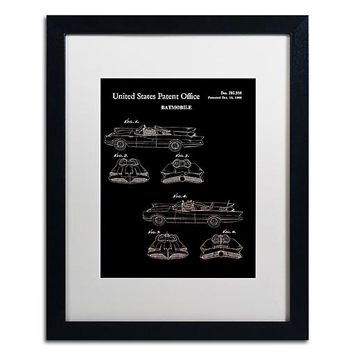 "Trademark Fine Art ''Batmobile Car Patent 1966 Black'' by Claire Doherty 16"" x 20"" White Matted Black Frame (CDO0006-B1620MF)"
