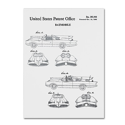 Trademark Fine Art ''Batmobile Car Patent 1966 White'' by Claire Doherty 14