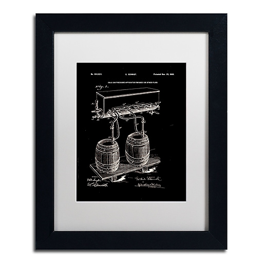 "Trademark Fine Art ''Art Of Brewing Beer Patent Black'' by Claire Doherty 11"" x 14"" White Matted Black Frame (CDO0008-B1114MF)"