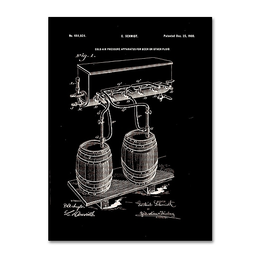 """Trademark Fine Art ''Art Of Brewing Beer Patent Black'' by Claire Doherty 24"""" x 32"""" Canvas Art (CDO0008-C2432GG)"""